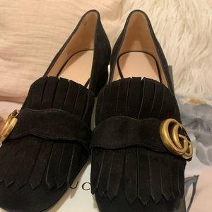 Gucci black suede mid heel pump